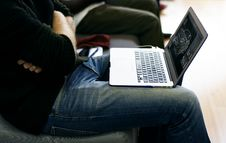Free Laptop In Man S Lap Stock Images - 95354974