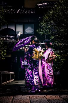 Free Women In Kimono Robes In Garden Stock Photography - 95355032