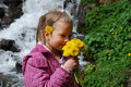 Free Little Girl With Yellow Flowers. Stock Image - 9540011