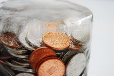 Free Coins In Ice Stock Photo - 9540190