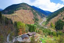 High-mountainous Valley In The Spring. Stock Image