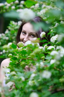 Free Woman Is In Flowers Stock Image - 9541931