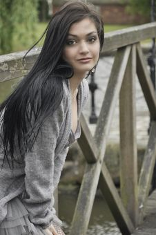 Free Dark-haired Young Woman On The Old  Bridge Royalty Free Stock Photo - 9543075