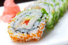 Sushi With A Salmon Of Avocado And Caviar Royalty Free Stock Photo