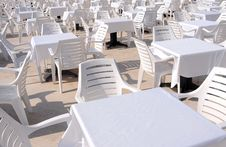Free White Chairs And Tables Royalty Free Stock Image - 9543306