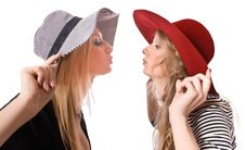 Free Kissing Similar Blonde Sister Isolated Royalty Free Stock Images - 9543709