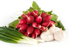 Free Spring Onions, Garlic, Lettuce And Radish Stock Image - 9543721