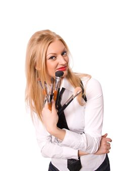 Blonde Female With Makeup Brushes Isolated Stock Images