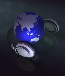 Earth & Music Concept 3d Stock Photography
