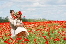 Free Couple On Red Poppies Field Stock Photo - 9544470