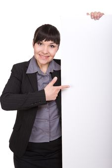 Free Businesswoman With Board Stock Image - 9544961