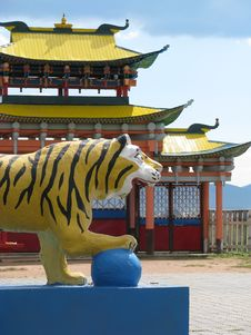 Statue Of Tiger In Buddhist University Monastery Stock Image