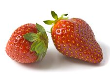 Free Two Ripe And Appetizing Strawberries. Royalty Free Stock Photography - 9545227