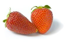 Free Two Ripe And Appetizing Strawberries. Royalty Free Stock Images - 9545249
