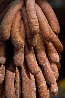 Sausages Hanging Stock Images