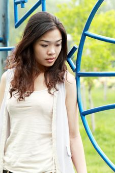 Free Asian Girl Outdoors. Royalty Free Stock Photo - 9545885