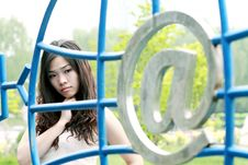 Free Asian Girl Outdoors. Stock Image - 9545941