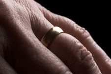Hand With Wedding Ring Royalty Free Stock Photography