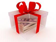 Box On White With Money Stock Photo