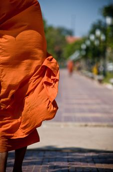 Free Buddhist Monk Robe Blowing In Wind Stock Photo - 9548010