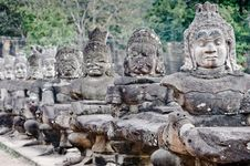 Free Ancient Stone Carvings At Angkor Wat Royalty Free Stock Images - 9548189