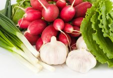 Free Spring Onions, Garlic, Lettuce And Radish Stock Photography - 9549472