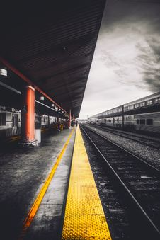 Free Railroad Platform On Station Royalty Free Stock Image - 95409416