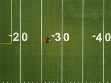 Free Birds Eye View Of American Football Pitch Stock Image - 95477041