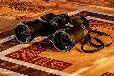 Free Black Binoculars In Maroon And Beige Textile Stock Images - 95477364