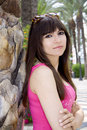 Free Woman Beside Palm Tree Stock Images - 9559304