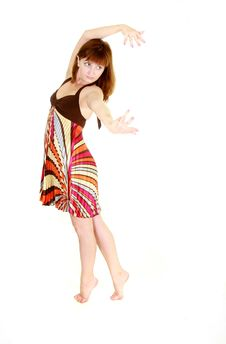 Free Dancing Girl In Colorful Dress Stock Photo - 9552930