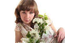Free Girl With Branch Of Bird Cherry Stock Images - 9555384