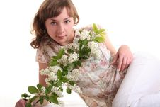 Free Girl With Branch Of Bird Cherry Royalty Free Stock Photo - 9555405