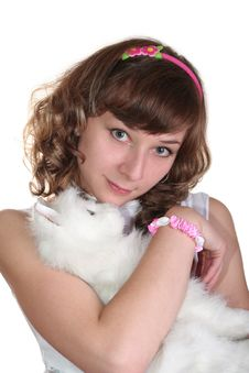Free Girl With Toy S Cat Royalty Free Stock Photos - 9555448