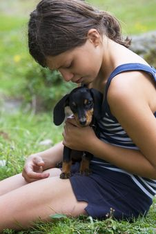 Free Girl With Dog Royalty Free Stock Images - 9556209