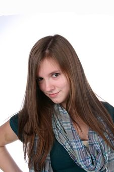 Free Pretty Teenage Girl With Long Hair And Scarf Stock Photography - 9556442