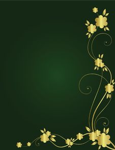 Free Golden Floral Background Stock Image - 9557371