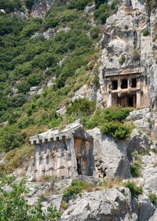 Free Lycian Tombs Royalty Free Stock Photo - 9557525