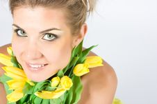 Free Blonde With Flowers Stock Images - 9557724
