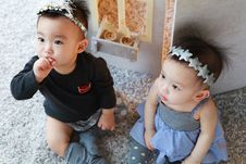 Free Korean Baby Twins Stock Photos - 95593563