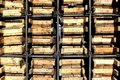 Free Rack With Wooden Boxes Royalty Free Stock Photography - 9566847