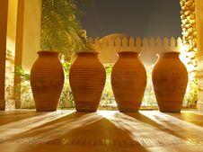 4 Clay Vases Royalty Free Stock Photos