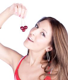 Free Attractive Woman Holding Cherry, Isolated On White Royalty Free Stock Photography - 9562187