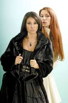 Free Two Young Women In Fur Coats Stock Photography - 9565362