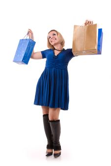 Free Happy Young Woman With Shopping Bags Royalty Free Stock Photography - 9565997
