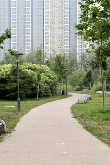 Path In The Residential Area Royalty Free Stock Images