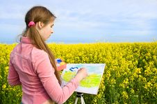 Free Drawing Of A Blossoming Field. Stock Images - 9568224