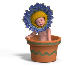 Free Baby In Flower Pot Stock Images - 9568994