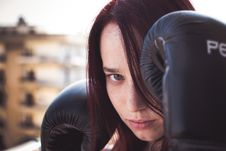 Free Woman With Boxing Gloves Stock Photography - 95643942