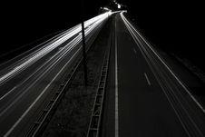 Free Headlight Streaks On Dark Road Stock Photography - 95644152